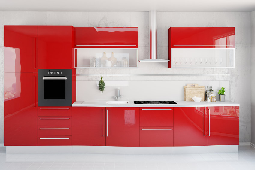 saubere moderne k che in rot paul robinson. Black Bedroom Furniture Sets. Home Design Ideas