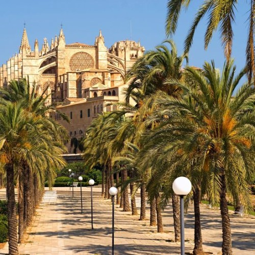 Spain,Balearic Islands,Mallorca,Palma,Cathedral La Seu And Parc De La Mar